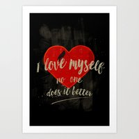 I Love Myself (dark And … Art Print