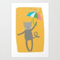 a cat is always prepared for the rain Art Print