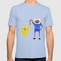 Finn And Jake! Mens Fitted Tee Tri-Blue SMALL