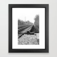 Railroad Tracks Black and White Photography Framed Art Print