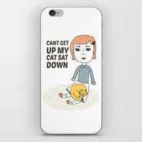 can't get up my cat sat down iPhone & iPod Skin