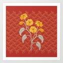 Flowers Red Pattern Art Print
