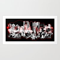 Tokyo skyline with Mount Fuji silhouette Art Print