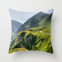 Mountains, green, gigantic, steep and rolling Throw Pillow