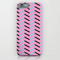 Blue and Black Chevron on Hot Pink iPhone 6 Slim Case