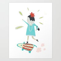 girl and dog Art Print
