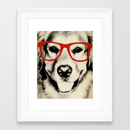 NERDY DOG Framed Art Print