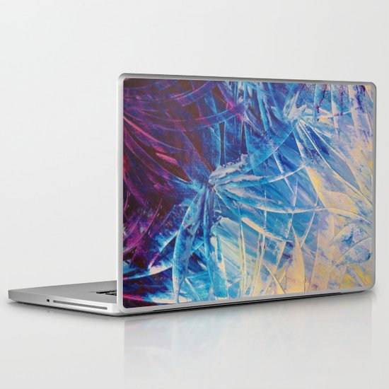 NIGHT FLOWERS - Beautiful Midnight Florals Feathers, Eggplant Lilac Periwinkle Cream Modern Abstract Laptop & iPad Skin
