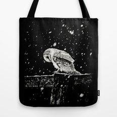Snowfall at Night (Owl) Tote Bag