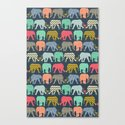 baby elephants and flamingos Canvas Print