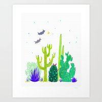 Watercolour Cactus & Bat… Art Print