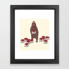 he baked so many  strawberry cakes. Framed Art Print