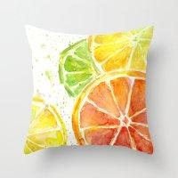 Fruit Watercolor Throw Pillow