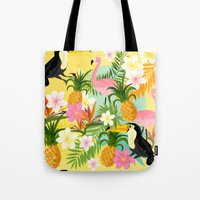 Tropical Toucan & Flamingo Pattern Tote Bag