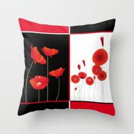 Flaming Poppies Throw Pillow