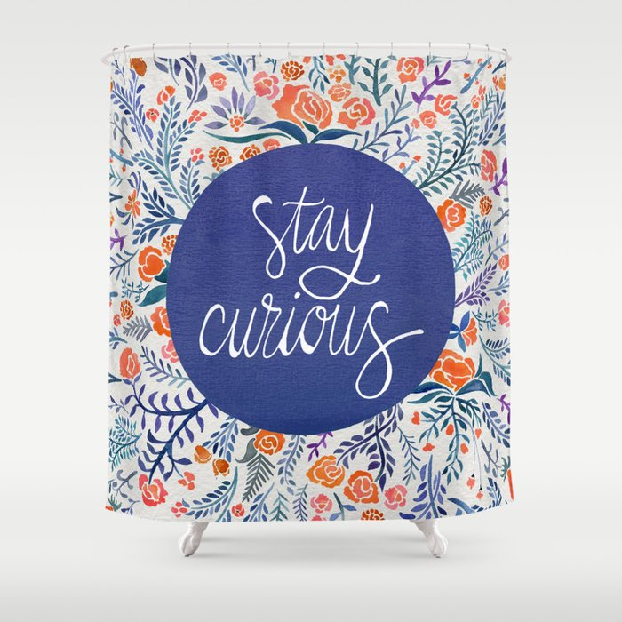 Stay curious navy amp coral shower curtain by cat coquillette