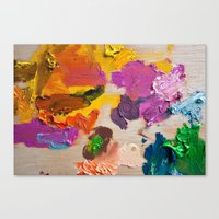 Palette for oil painting. Mixing colors Canvas Print