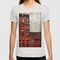 Rainy Day In Brooklyn Womens Fitted Tee Silver SMALL