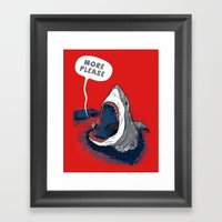 Greedy Shark Framed Art Print