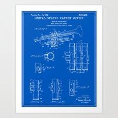 Trumpet Patent - Blueprint Art Print