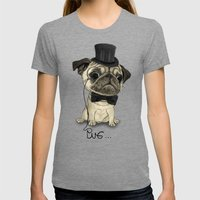 Pug; Gentle Pug (v3) Womens Fitted Tee Tri-Grey SMALL