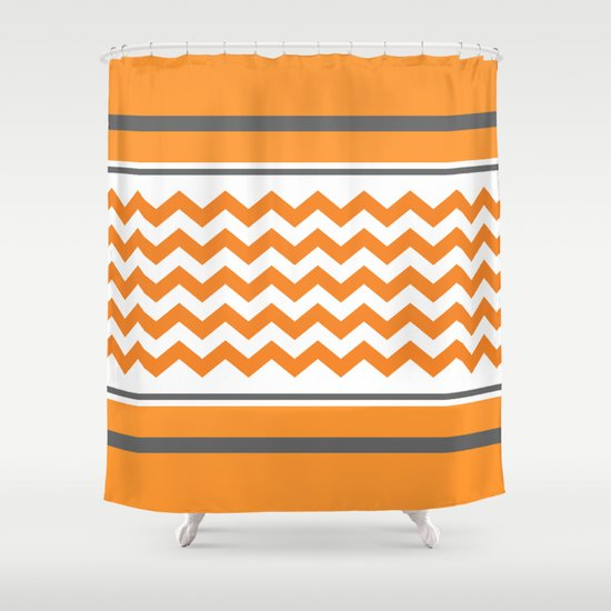 Orange Chevron and Grey Shower Curtain