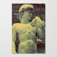David Statue in Florence on a Snowy Day Canvas Print