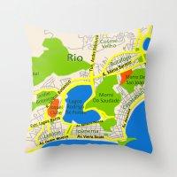 RIO Map Design - Brasil Throw Pillow