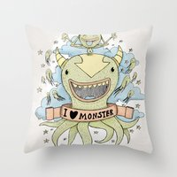 I Love Monster Throw Pillow