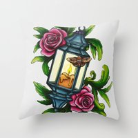 A Moth to the Flame Throw Pillow
