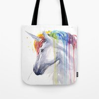 Rainbow Unicorn Watercolor Tote Bag