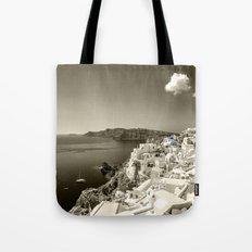 Santorini Seascape in sepia Tote Bag