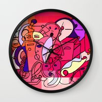 Red White Commotion Wall Clock