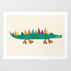 Crocodile On Roller Skat… Art Print