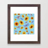 Sunflowers & Dragonflies Framed Art Print