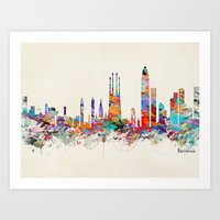 Barcelona Watercolor Sky… Art Print