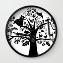 :) animals on tree Wall Clock