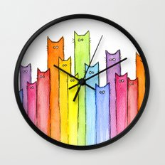 Cat Rainbow Watercolor P… Wall Clock