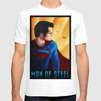 Man Of Steel Mens Fitted Tee White SMALL