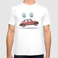 take flight, VW Beetle Mens Fitted Tee White SMALL