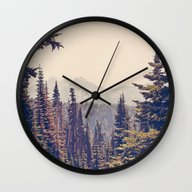 Mountains Through The Tr… Wall Clock