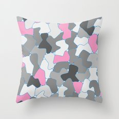 Stone Wall Drawing #2 Pink Throw Pillow