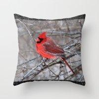 The Snow Cardinal Throw Pillow