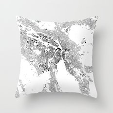 Zurich Schwarzplan Map O… Throw Pillow