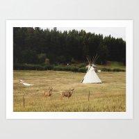Salida Teepee Deer Art Print