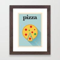 Minimal Pizza Poster Framed Art Print