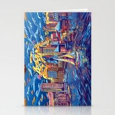 Abstract City Skyline-ba… Stationery Cards
