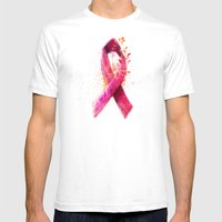 Breast Cancer Ribbon Mens Fitted Tee White SMALL