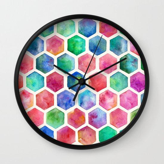 Hand Painted Watercolor Honeycomb Pattern Wall Clock