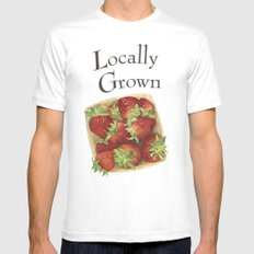 Strawberries SMALL White Mens Fitted Tee